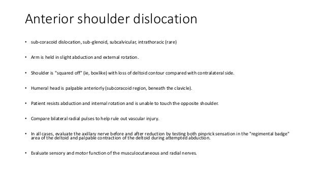 rehabilitation for anterior glenohumeral subluxation The direction of shoulder dislocation or subluxation can usually be made by physical  rehabilitation after bankart shoulder repair and anterior stabilizing.