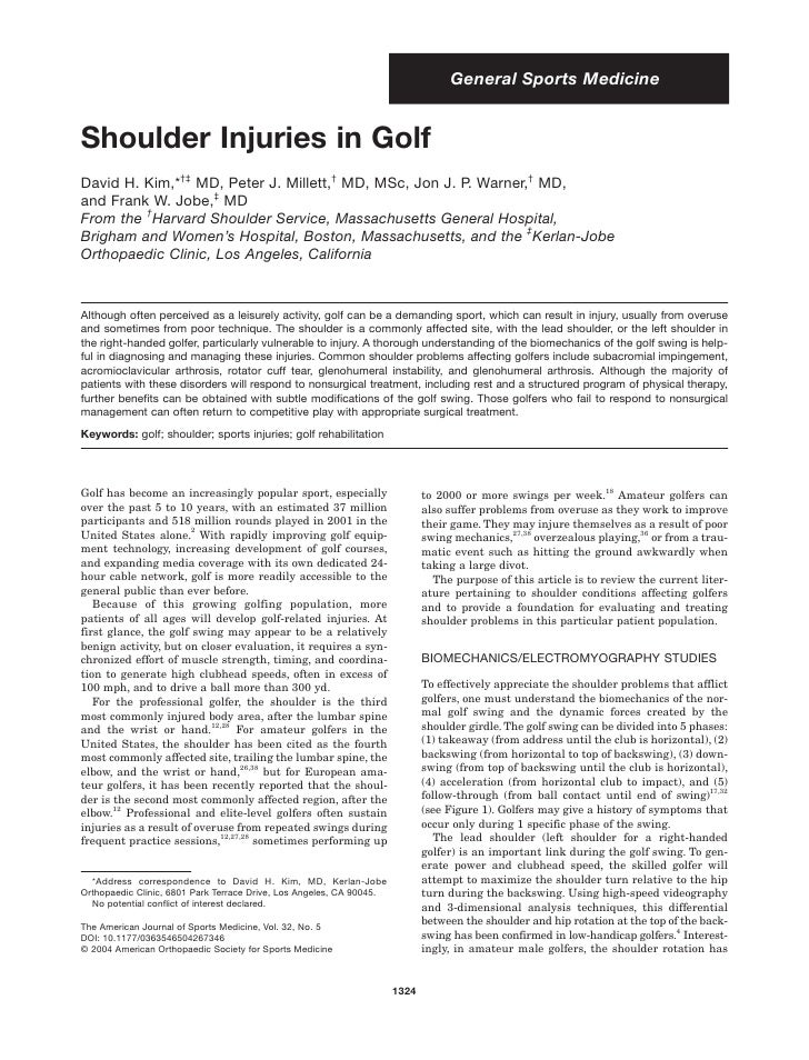General Sports Medicine   Shoulder Injuries in Golf David H. Kim,*†‡ MD, Peter J. Millett,† MD, MSc, Jon J. P. Warner,† MD...