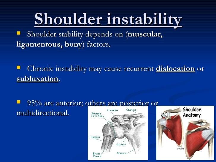 Shoulder instability <ul><li>Shoulder stability depends on ( muscular, ligamentous, bony ) factors. </li></ul><ul><li>Chro...