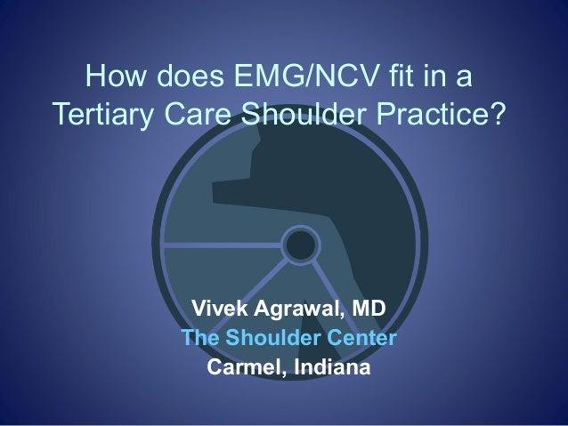 How does EMG/NCV fit in aTertiary Care Shoulder Practice?Vivek Agrawal, MDThe Shoulder CenterCarmel, Indiana