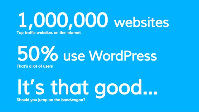 1,000,000 websites Top traffic websites on the internet It's that good...Should you jump on the bandwagon? 50% use WordPre...