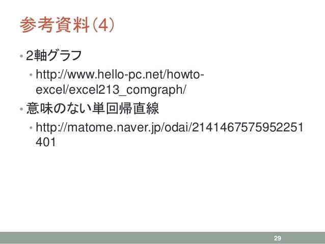 参考資料(4) • 2軸グラフ • http://www.hello-pc.net/howto- excel/excel213_comgraph/ • 意味のない単回帰直線 • http://matome.naver.jp/odai/21414...