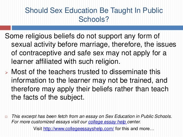 should sex education be taught in public schools 9