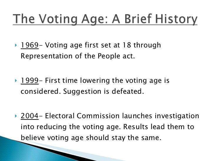 should the voting age be lowered to  3 <ul><li>1969 voting age