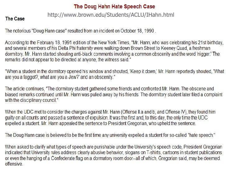 should doug hann be expelled argument Should doug hann be expelled racism, a word that describes people that have hatred for others cause of their race, sexual orientation, religion and sex just to name a few it exists everywhere especially in our universities, there's a article written by one nat hentoff about a caucasian male being expelled for racial slurs he direction to other students his name is doug hann.