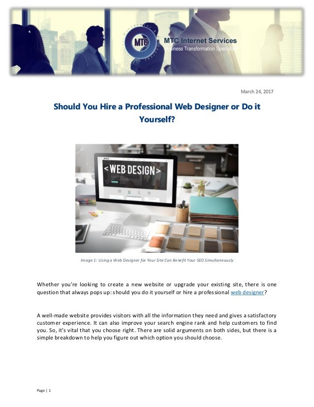 Should you hire a professional web designer or do it yourselfcx do it yourselfcx page 1 image 1 using a web designer for your site can benefit your solutioingenieria Choice Image