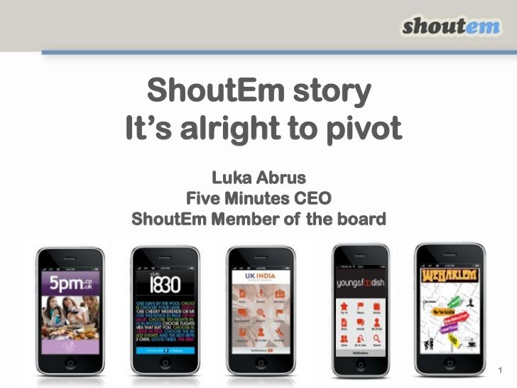 ShoutEm story It's alright to pivotLuka AbrusFive Minutes CEOShoutEm Member of the board<br />1<br />