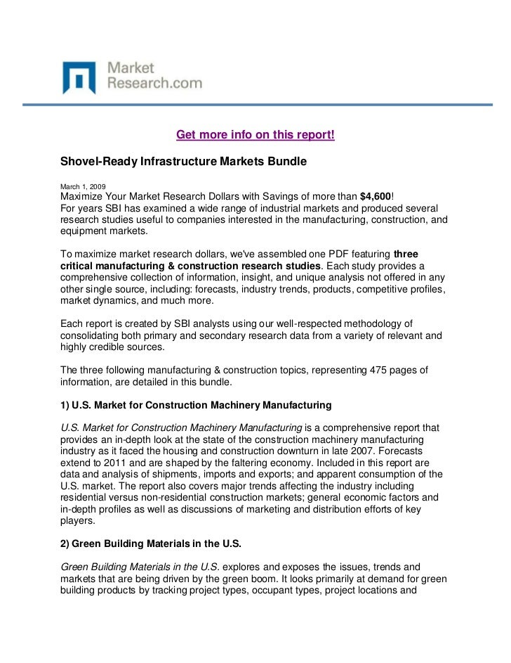 Get more info on this report!Shovel-Ready Infrastructure Markets BundleMarch 1, 2009Maximize Your Market Research Dollars ...