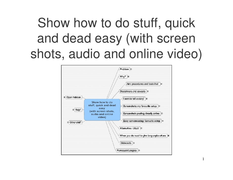 Show how to do stuff, quick  and dead easy (with screen shots, audio and online video)                                  1