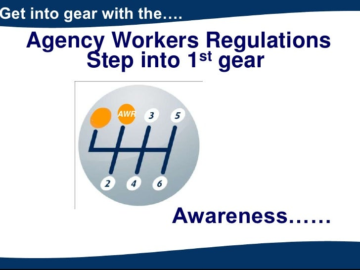 Get into gear with the….<br />Agency Workers Regulations<br />Step into 1st gear<br />AWR<br />Awareness……<br />