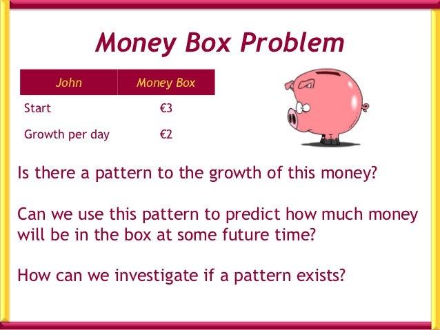 Table for John's Money Box      Time/days             Money in Box/€          0                       3          1        ...