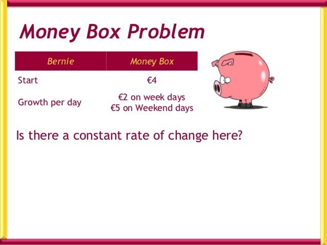 Table for Money BoxTime/days     Money in Box/€0   (Tues)          41   (Wed)           62   (Thurs)         83   (Fri)   ...