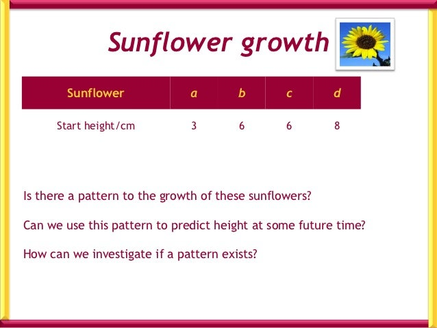 Table for Each SunflowerTime/days Height/cm   Change    0    1    2    3    4    5