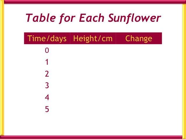 Pattern of Growth for 4 Different Sunflowers       A               B            C            Dt/d     h/cm     t/d   h/cm ...