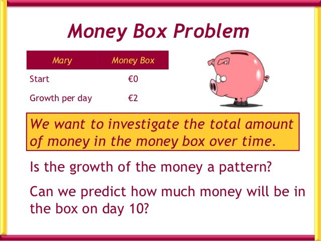 Money Box Problem        John     Money BoxStart               €3Growth per day      €2Is there a pattern to the growth of...