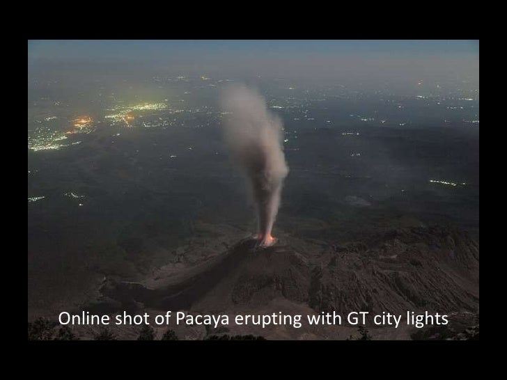 Online shot of Pacaya erupting with GT city lights<br />