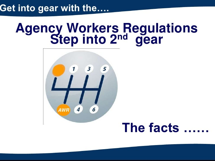 Get into gear with the….   Agency Workers Regulations       Step into 2nd gear            AWR                           Th...