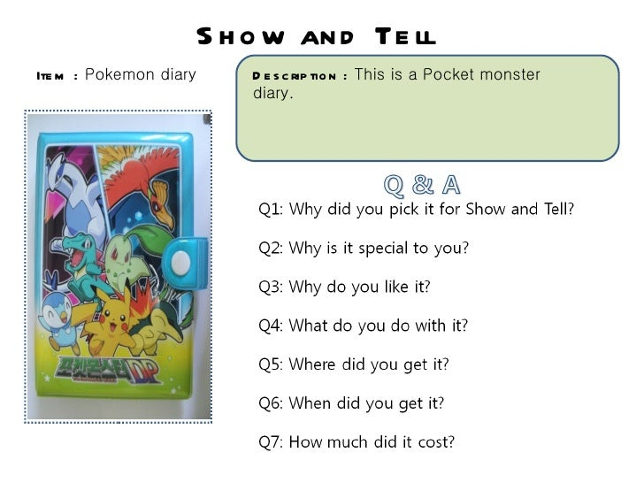S h o w an d Te llIte m : Pokemon diary       D e s c rip tio n : This is a Pocket monster                            diar...