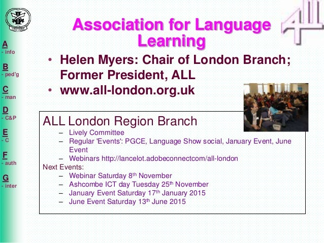 A  - info  B  - ped'g  C  - man  D  - C&P  E  - C  F  - auth  G  - inter  Association for Language  Learning  • Helen Myer...