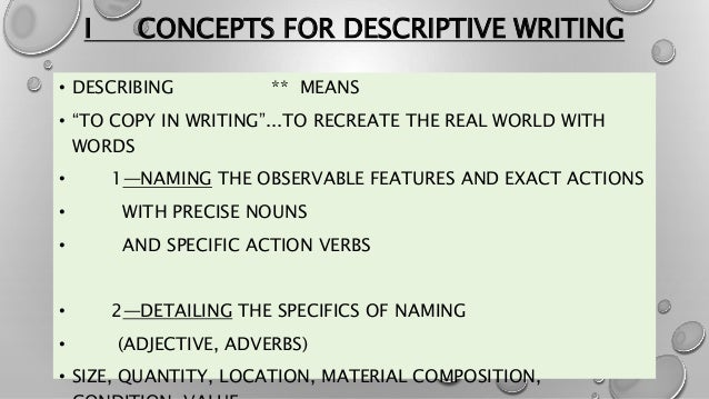 showing vs telling and descriptive writing strategies 4 i concepts for descriptive writing