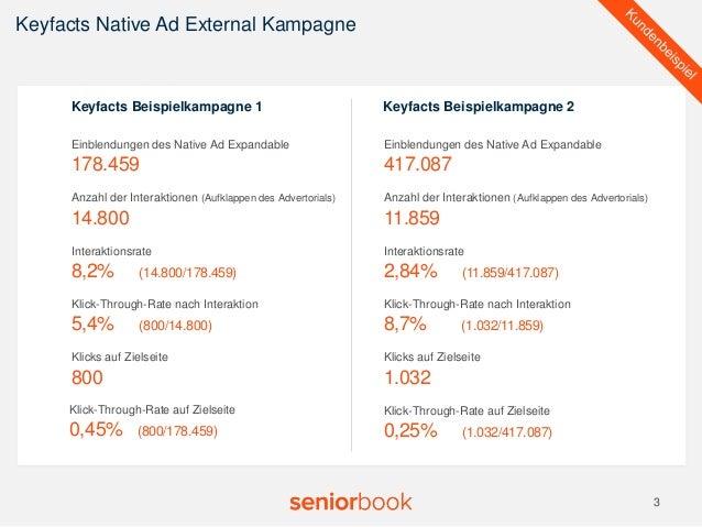 Keyfacts Native Ad External Kampagne  3  v  Einblendungen des Native Ad Expandable  178.459  Anzahl der Interaktionen (Auf...