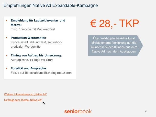 Empfehlungen Native Ad Expandable-Kampagne  4  Über aufklappbares Advertorial  direkte externe Verlinkung auf die  Wunschs...