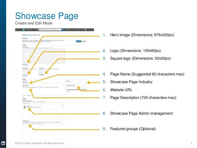 Showcase Page Create and Edit Mode 1.  2.  Logo (Dimensions: 100x60px)  3.  Square logo (Dimensions: 50x50px)  4.  Page Na...