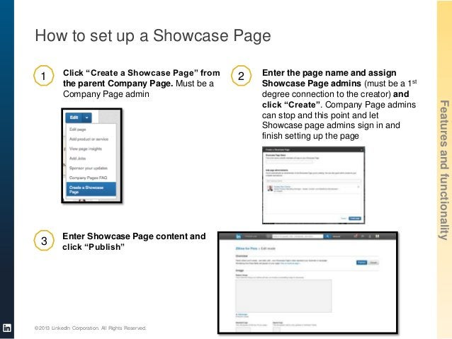 """How to set up a Showcase Page Click """"Create a Showcase Page"""" from the parent Company Page. Must be a Company Page admin  3..."""