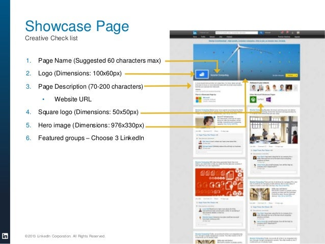 Showcase Page Creative Check list  1.  Page Name (Suggested 60 characters max)  2.  Logo (Dimensions: 100x60px)  3.  Page ...