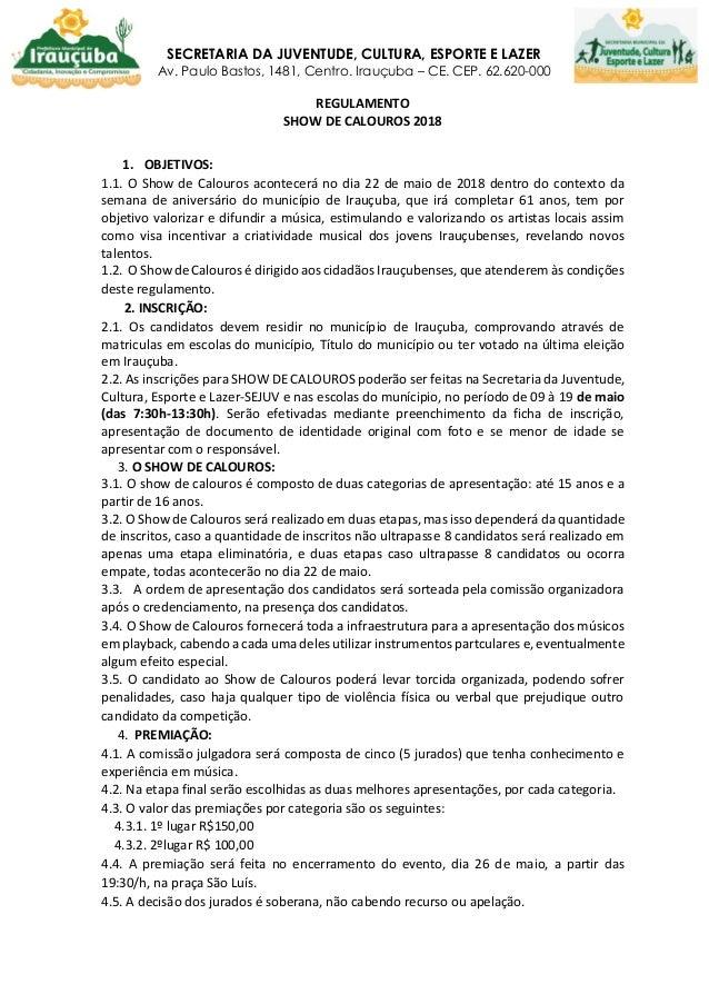 Regulamento do Show de Calouros 2018