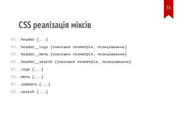 CSS реалізація міксів .header {...} .header__logo {зовнішня геометрія, позиціювання} .header__menu {зовнішня геометрія, по...