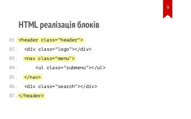 """<header class=""""header""""> <nav class=""""menu""""> </nav> </header> HTML реалізація блоків <div class=""""logo""""></div> <ul class=""""sub..."""