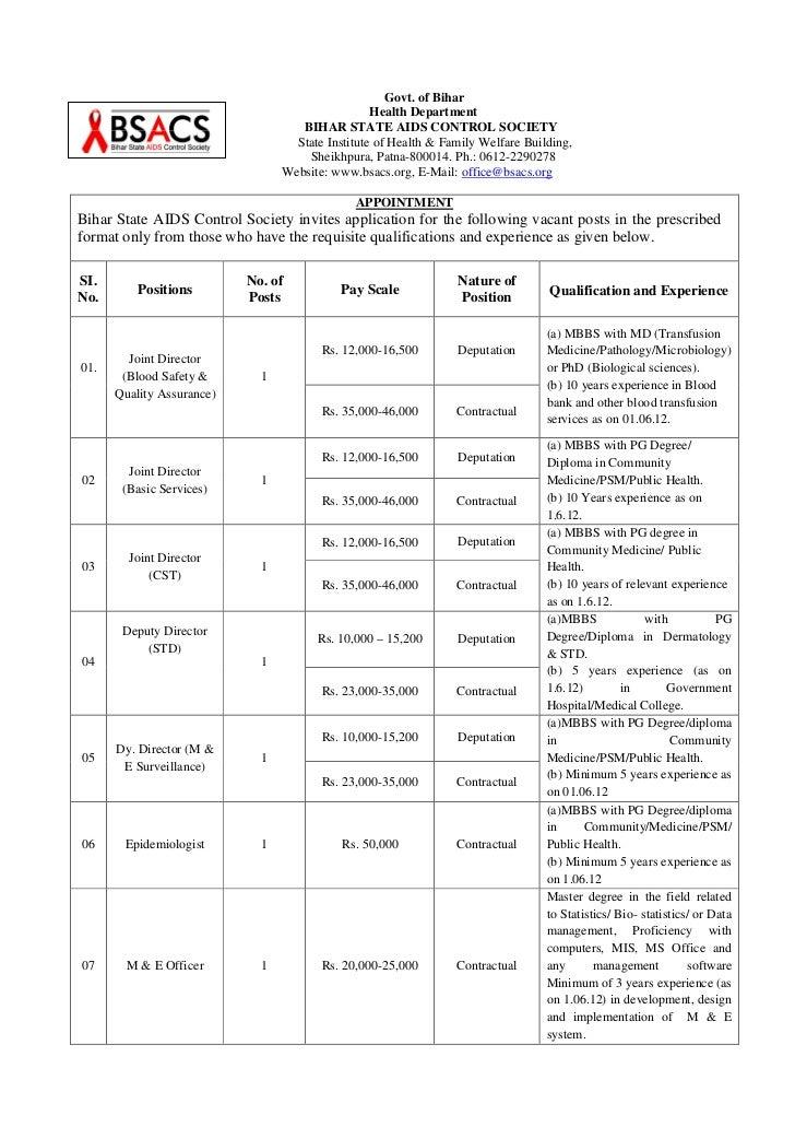 Govt. of Bihar                                                  Health Department                                    BIHAR...
