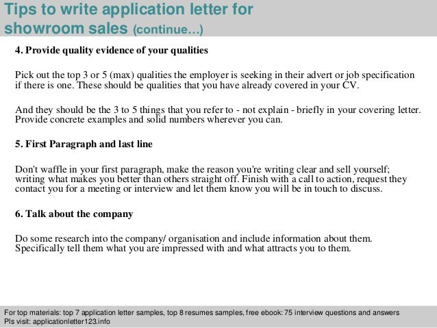 Showroom sales application letter 4 tips to write application letter spiritdancerdesigns Gallery