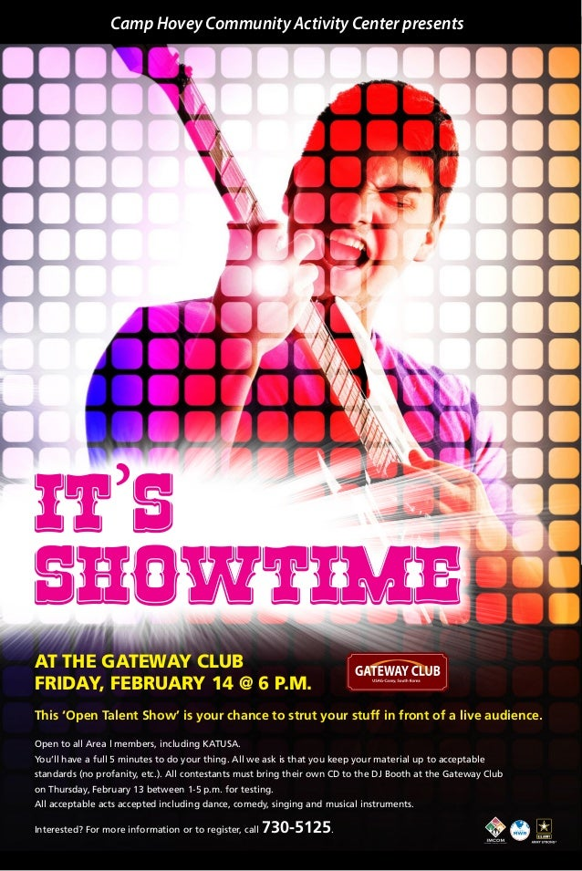 Camp Hovey Community Activity Center presents  It's SHOWTIME at the Gateway Club Friday, February 14 @ 6 p.m. This 'Open T...