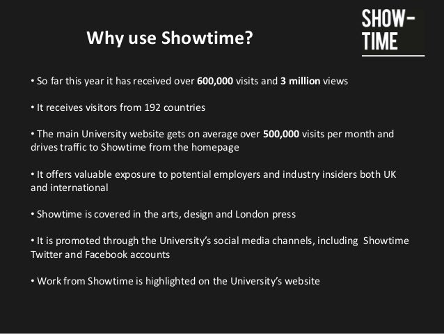 Why use Showtime?• So far this year it has received over 600,000 visits and 3 million views• It receives visitors from 192...