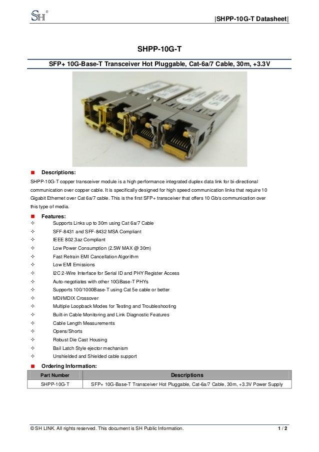10G Copper SFP, 10G SFP-T