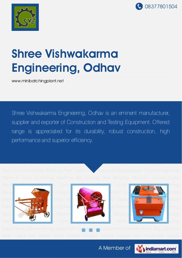 08377801504    Shree Vishwakarma    Engineering, Odhav    www.minibatchingplant.netConcrete   Batching    Machine   Sand  ...