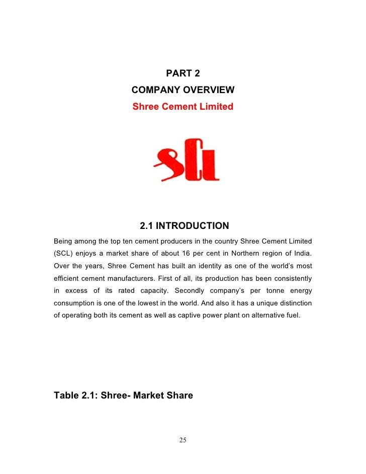 Shree Cement Limited : Shree cement mar report