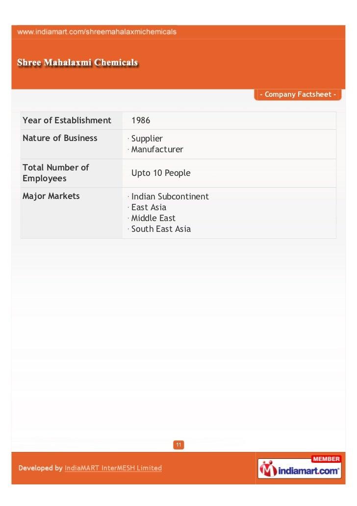 - Company Factsheet -Year of Establishment   1986Nature of Business      Supplier                        ManufacturerTotal...