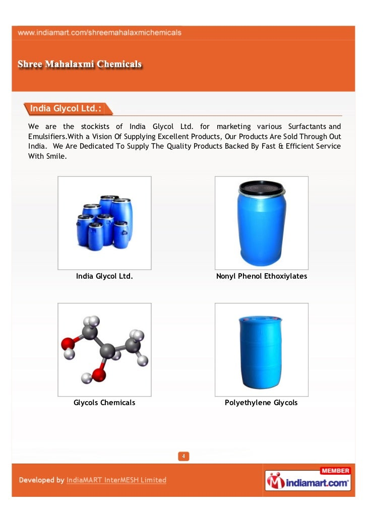 India Glycol Ltd.:We are the stockists of India Glycol Ltd. for marketing various Surfactants andEmulsifiers.With a Vision...