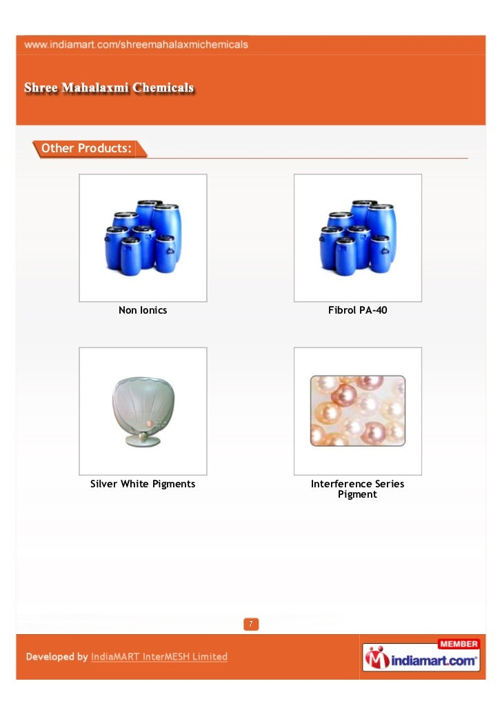 Other Products:             Non Ionics            Fibrol PA-40        Silver White Pigments   Interference Series         ...