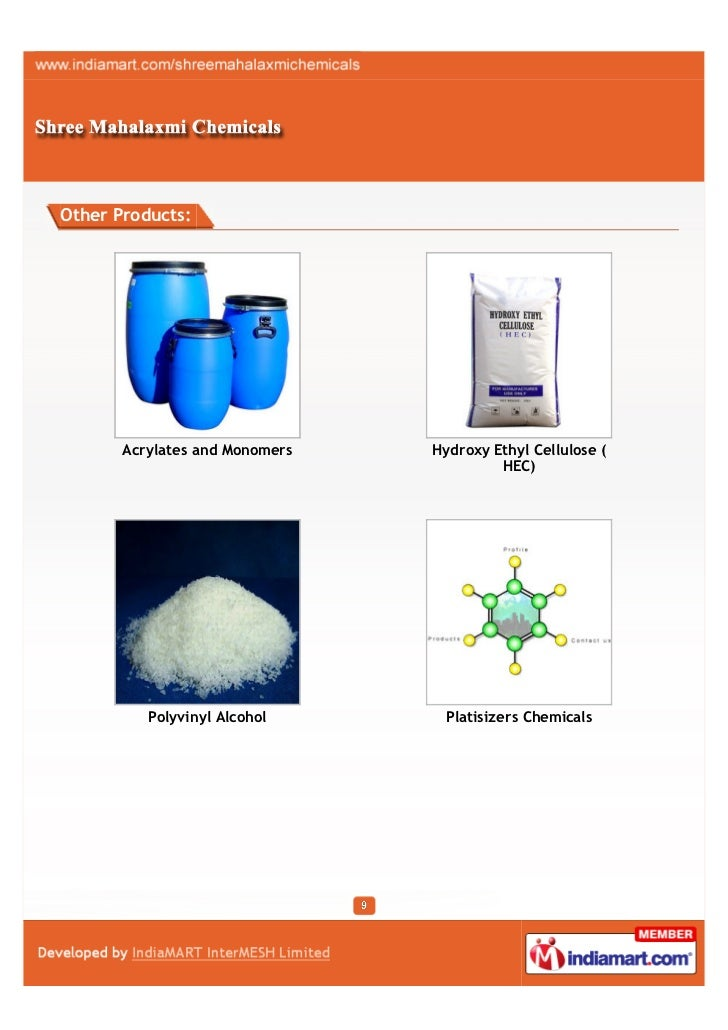 Other Products:       Acrylates and Monomers   Hydroxy Ethyl Cellulose (                                         HEC)     ...