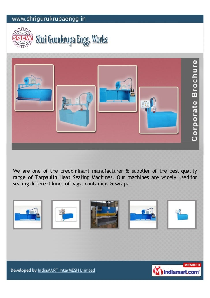 We are one of the predominant manufacturer & supplier of the best qualityrange of Tarpaulin Heat Sealing Machines. Our mac...