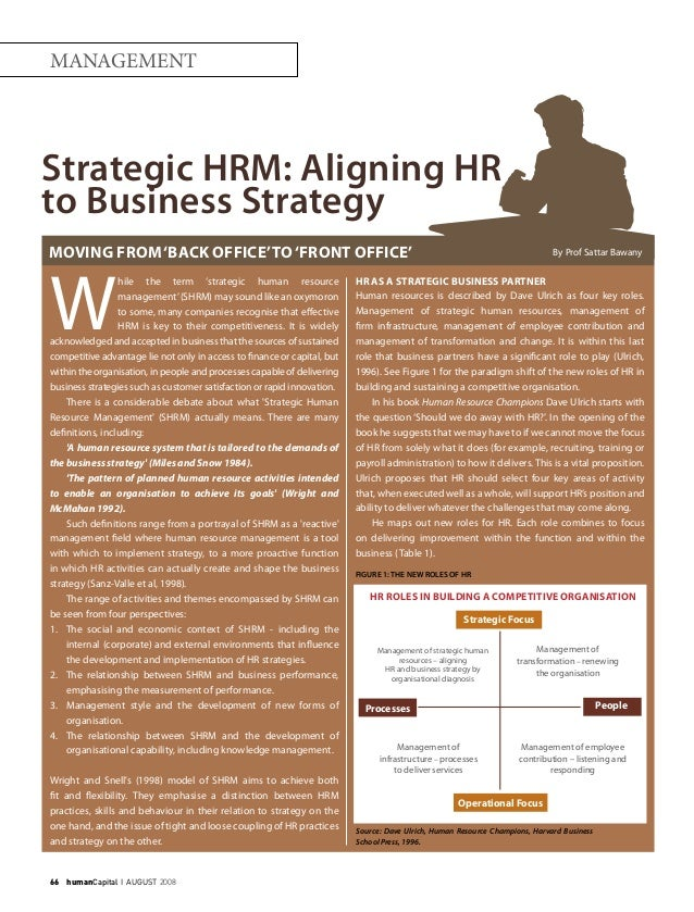 66    humanCapital I AUGUST 2008 MANAGEMENT W hile the term 'strategic human resource management'(SHRM) may sound like an ...