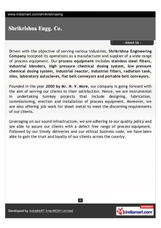 Shrikrishna Engg. Co., Nashik, Industrial Process Equipment Slide 2