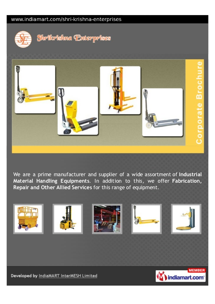 We are a prime manufacturer and supplier of a wide assortment of IndustrialMaterial Handling Equipments. In addition to th...