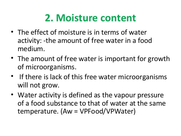 importance of moisture content in food pdf