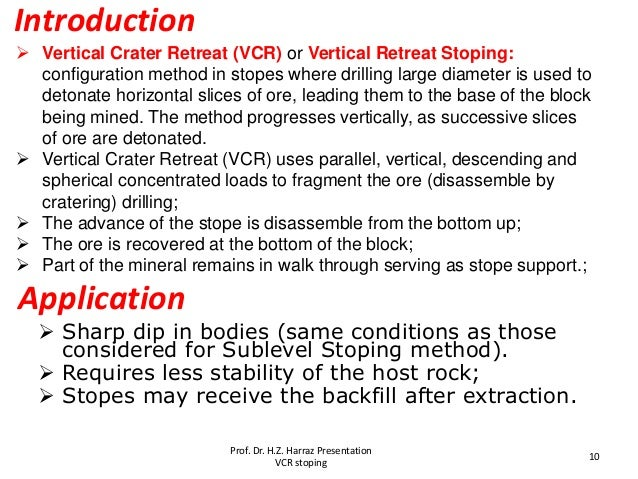  Vertical Crater Retreat (VCR) or Vertical Retreat Stoping: configuration method in stopes where drilling large diameter ...
