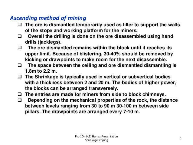 Ascending method of mining  The ore is dismantled temporarily used as filler to support the walls of the stope and workin...